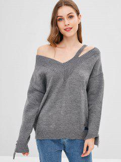 Wide V Neck Slashed Oversized Sweater - Gray S