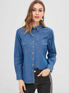Botón De Bolsillo De La Camisa De Cambray - Azul Oscuro De Denim L
