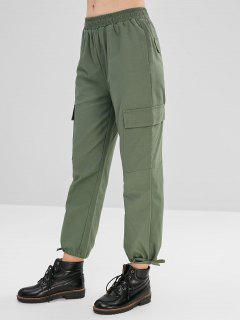 Pantalones Capri De Pierna Ancha De Cintura Media - Verde Marrón Claro L