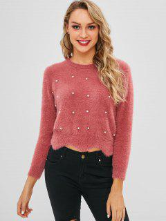 Faux Pearl Bejeweled Fluffy Sweater - Blush Red
