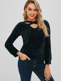 Suéter Mullido Cruzado Con Cuello En V - Negro
