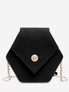 Link Chain Surb Leather Crossbody Bag - Black