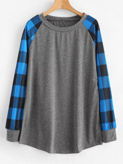 Raglan Plaid Camiseta Manga Larga - Azul Xl