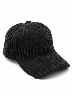 Vintage Thick Striped Adjustable Baseball Cap - Black