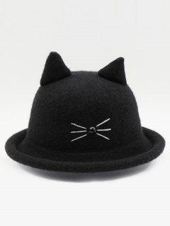 Cute Cartoon Cat Woolen Hat - Black