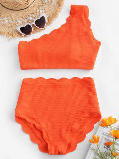 Ensemble Bikini Asymétrique à Taille Haute Et à Festons - Orange Vif M