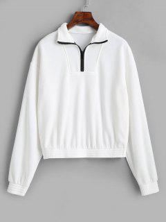 Half Zip Long Sleeve Sweatshirt - White M
