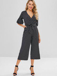 Belted Polka Dot Wide Leg Jumpsuit - Black S