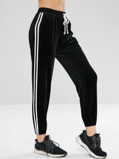 Velvet Contrast Side Sweat Jogger Pants - Black M