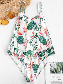ZAFUL Plant Print Ruffles Drop Armhole Swimsuit - Multi-a S
