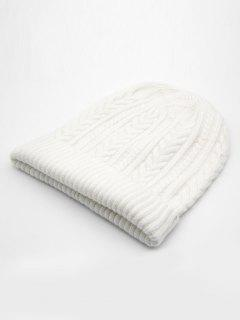 Stylish Flanging Knitted Warm Beanie - White