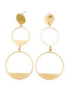 Hollow Round Shape Alloy Drop Earrings - Gold