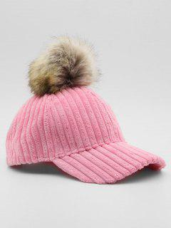 Winter Striped Fuzzy Ball Graphic Hat - Pink