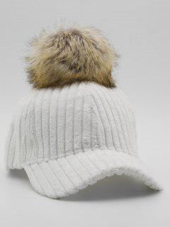 Winter Striped Fuzzy Ball Graphic Hat - White