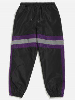 Pantalon De Jogging Rayé Contrasté Réfléchissant - Noir M