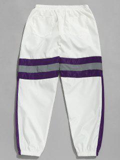 Pantalon De Jogging Rayé Contrasté Réfléchissant - Blanc Xl