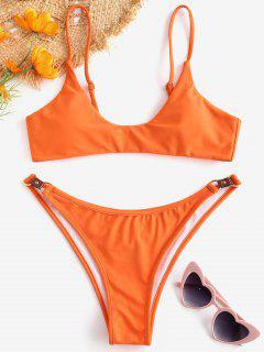 ZAFUL Metallic Hardware Gepolstertes Bikini-Set - Kürbis Orange L