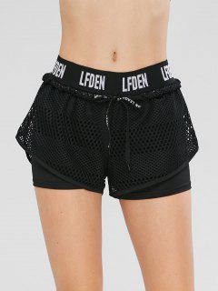 Drawstring Fishnet Overlay Gym Shorts - Black M