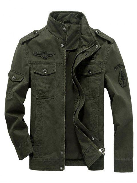 shop Embroidered Applique Epaulette Jacket - ARMY GREEN L Mobile