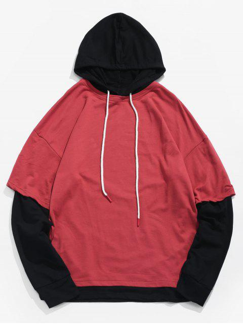 lady Two Tone False Two Piece Hoodie - LAVA RED M Mobile