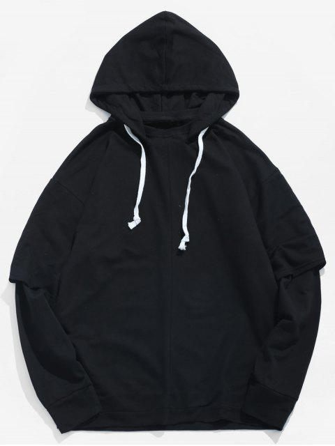 affordable Solid False Two Piece Hoodie - BLACK 2XL Mobile