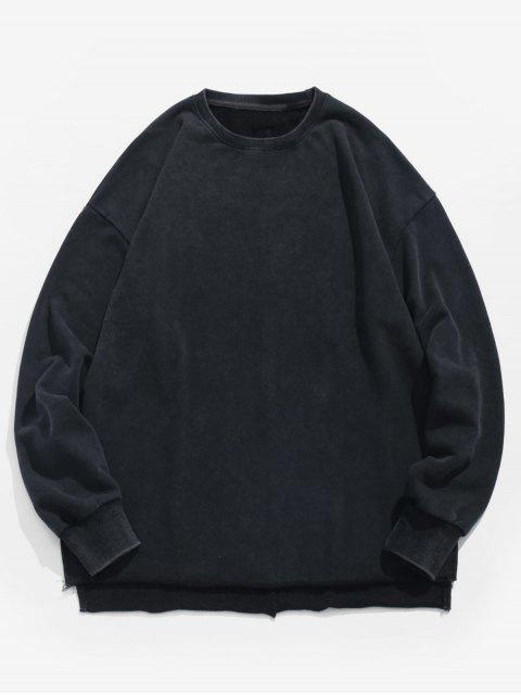 Sweat-shirt en Couleur Unie à Ourlet Asymétrique - Noir 2XL Mobile