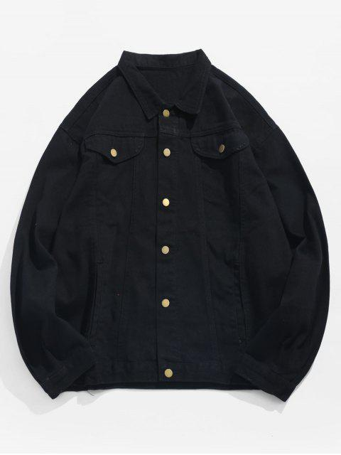 new Sleeve Hole Pins Letter Denim Jacket - BLACK 2XL Mobile