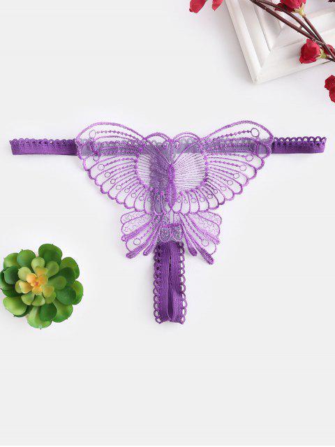 G-string Papillon Sans Entrejambe - Fleur Violet Taille Unique Mobile