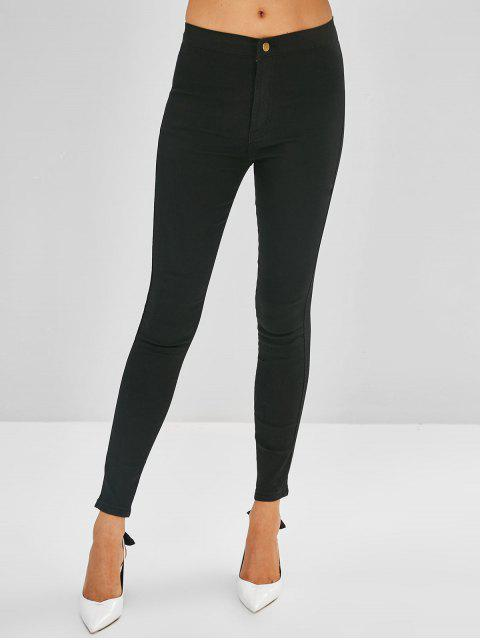 Jeans ajustados de cintura alta - Negro M Mobile