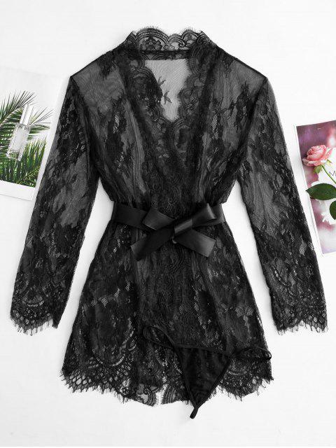 Robe en Dentelle Transparente avec Ceinture - Noir XL Mobile
