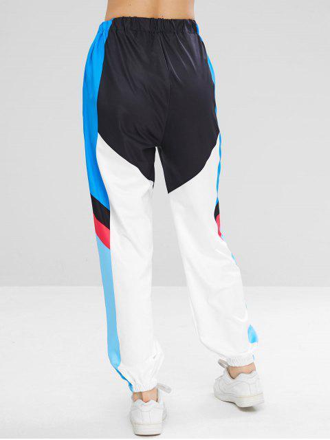 fancy Color Block Graphic Jogger Pants - MULTI L Mobile