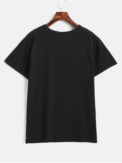 buy Short Sleeve Graphic Tee - BLACK S Mobile