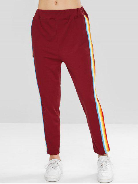 womens Colorful Stripes Straight Pants - RED WINE M Mobile