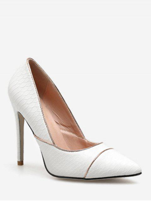 best Contrast Stripe Pointed Toe Pumps - WHITE EU 38 Mobile
