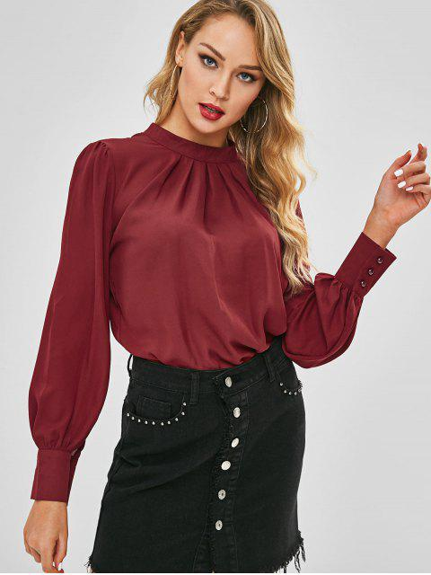 women's Pleated Front Flowy Top - RED WINE S Mobile