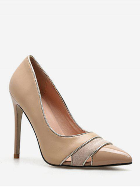 shop Cut Out Striped Pointed Toe Pumps - APRICOT EU 37 Mobile