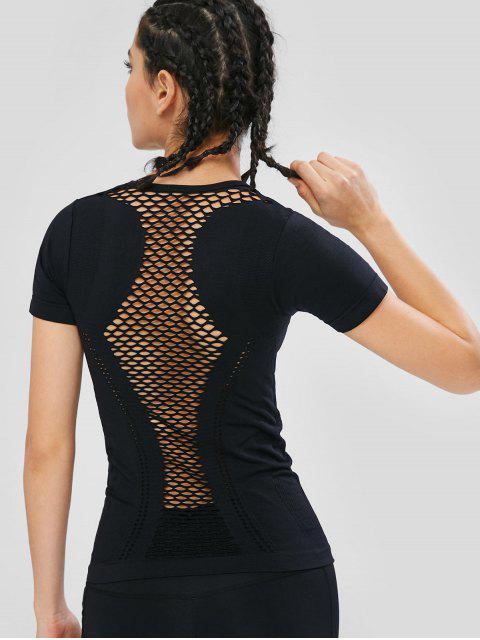 T-shirt de Sport Ajouré Sans Couture - Noir L Mobile