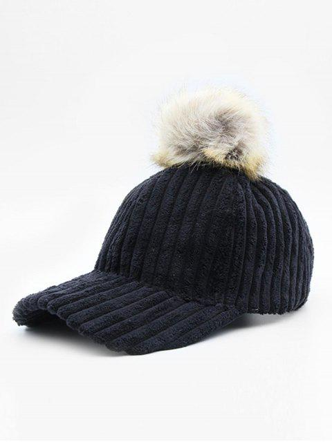 trendy Winter Striped Fuzzy Ball Graphic Hat - BLACK  Mobile