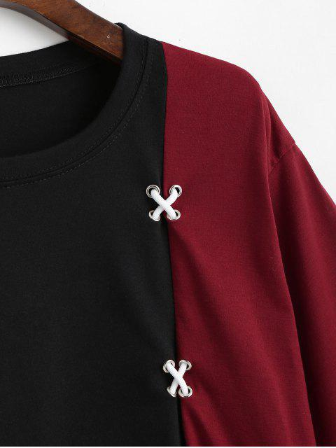 hot Asymmetric Two Tone Cross Tee - RED WINE S Mobile