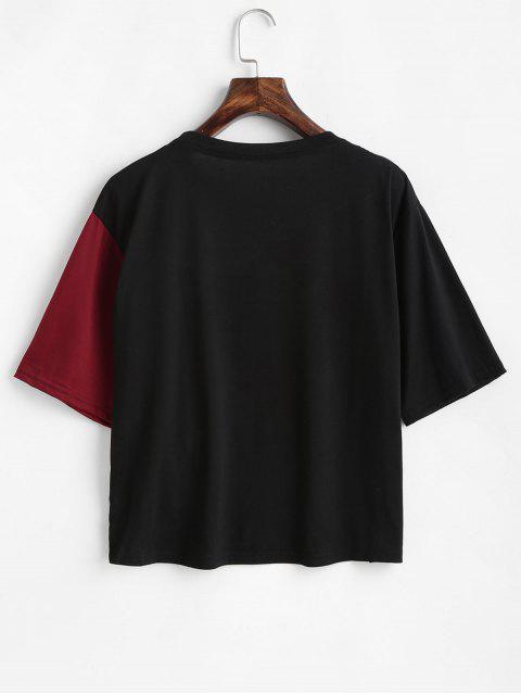 T-Shirt Asimmetrica Bicolore - Vino Rosso M Mobile