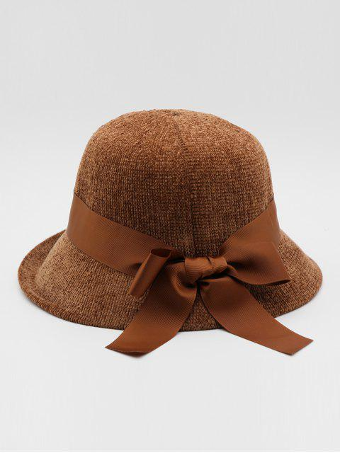 outfit Vintage Ribbon Bowknot Bucket Hat - BROWN  Mobile