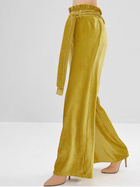 ZAFUL Ruffles con cinturón de pana pantalones anchos de pierna - Amarillo S Mobile