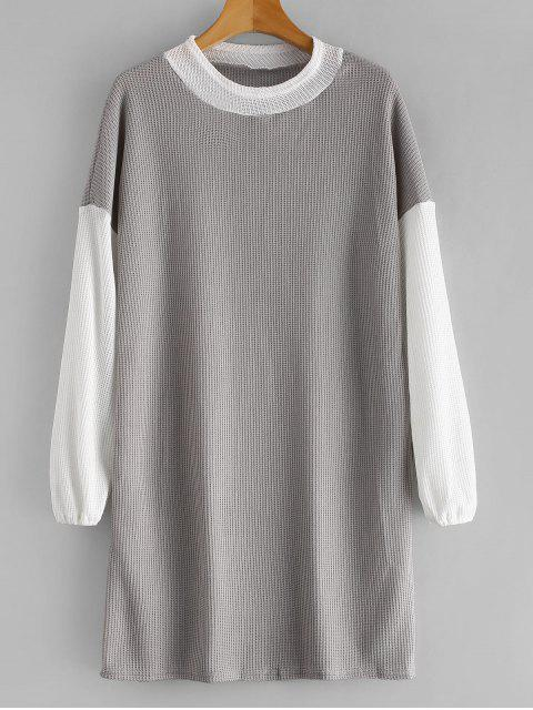 ladies Long Sleeve Two Tone Sweater Dress - GRAY L Mobile