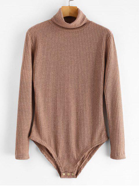 best Turtleneck Ribbed Knit Bodysuit - CAMEL BROWN S Mobile