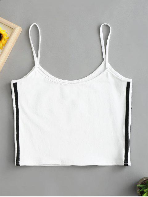 outfit Side Striped Crop Cami Top - WHITE S Mobile