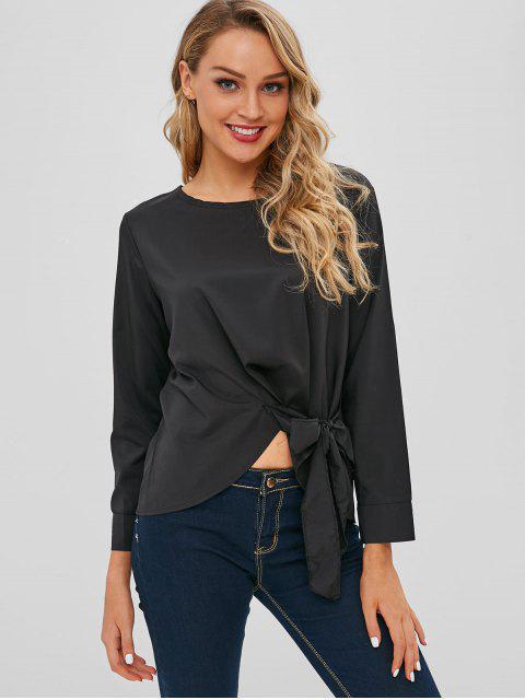 outfits Irregular Hem Tie Waist Top - BLACK L Mobile