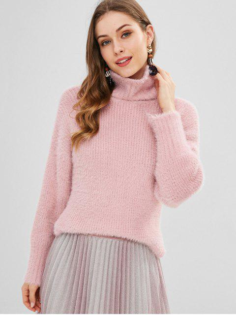 affordable Turtleneck Fuzzy Slit Knit Sweater - PINK ONE SIZE Mobile
