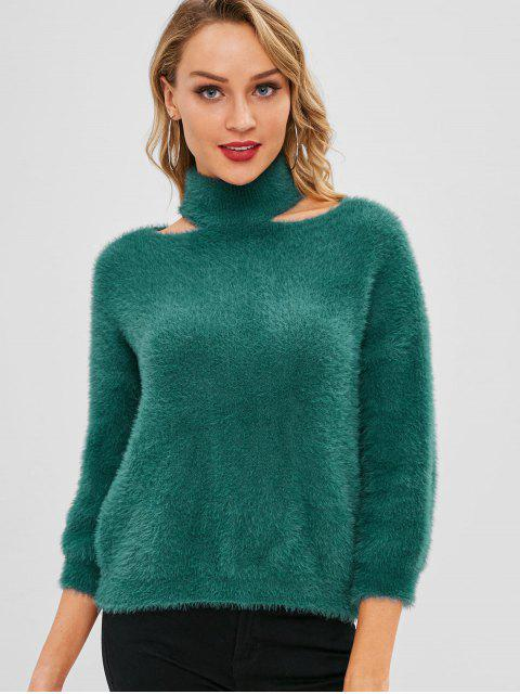 buy High Neck Cutout Drop Shoulder Sweater - DEEP GREEN ONE SIZE Mobile
