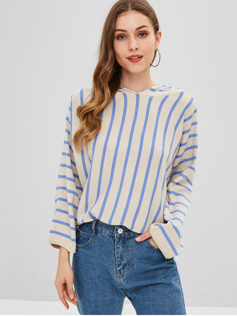 women's Striped Batwing Sleeve Hooded Sweater - MULTI ONE SIZE Mobile