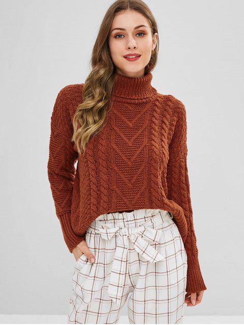 Suéter de punto festoneado de tejido de cuello alto - Marrón Claro Talla única Mobile